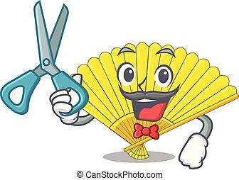 Barber folding cartoon fan in the bag