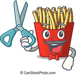 Barber french fries above cartoon table wood