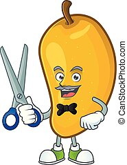 Barber fresh mango character cartoon with mascot