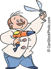 Funny barber cartoon, holding scissors and hairdryer
