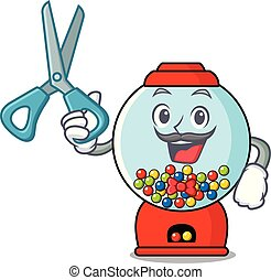 Barber gumball machine character cartoon