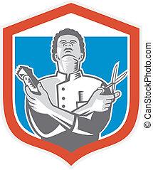 Barber Hair Clipper Scissors Shield Retro