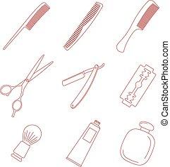Barber hairdresser icons set.