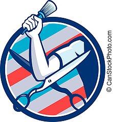 Barber Hand Brush Scissors Circle Retro
