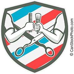 Barber Hand Comb Brush Scissors Shield Retro