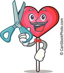 Barber heart lollipop character cartoon vector illustration