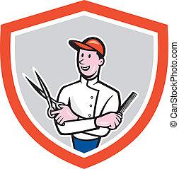 Barber Holding Scissors Comb Cartoon