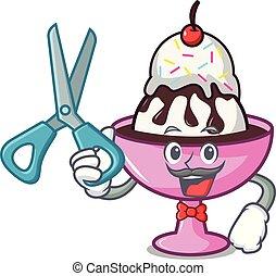 Barber ice cream sundae character cartoon vector...