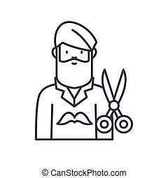 Barber icon, linear isolated illustration, thin line vector, web design sign, outline concept symbol with editable stroke on white background.