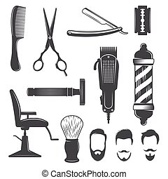 Barber Icon Set - Barber icon set with hairdresser work...