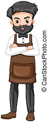Barber in brown apron