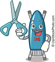 Barber iron board character cartoon vector illustration