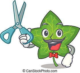 Barber ivy leaf isolated on character cartoon
