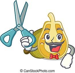 Barber jackfruit character cartoon style vector illustration