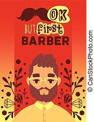 Barber man vector illustation. Cartoon happy hipster male...