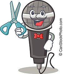 Barber microphone cartoon character design