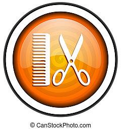 barber orange glossy icon isolated on white background