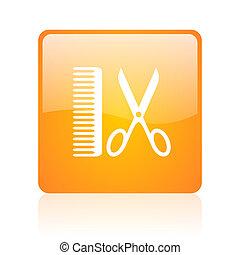 barber orange square glossy web icon