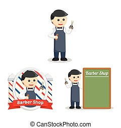 barber people set illustration design