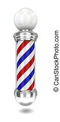 Barber pole. 3d illustration on white background