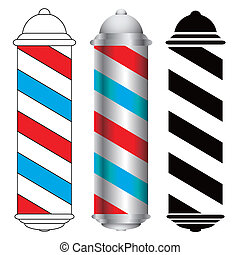 barber pole - three barber shop pole icons