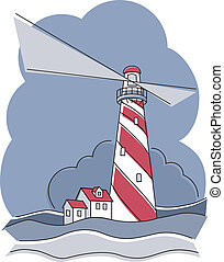 Barber Pole Lighthouse - Vector illustration of a red and ...