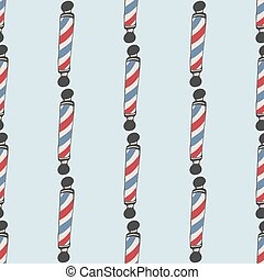 Barber pole. Seamless pattern with doodle barber poles. Hand-drawn background. Vector illustration.