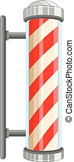 Barber pole sign on white background