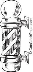 Barber pole sketch - Doodle style striped barbershop pole...