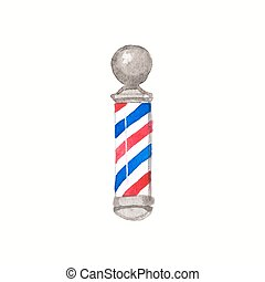 Barber pole. Watercolor barber poles on the white background...