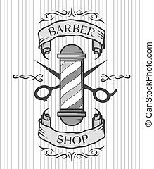 Barber pole,scissors and ribbon for text. - Barber shop...