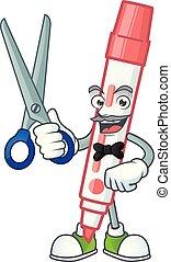 Barber red white board marker in cartoon