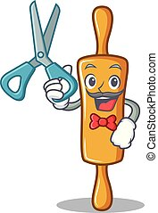 Barber rolling pin character cartoon