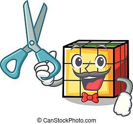 Barber rubik cube character cartoon