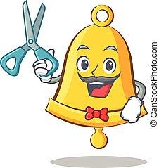 Barber school bell character cartoon