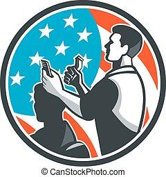 Barber Scissors Comb Cutting USA Flag Retro
