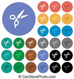 Barber scissors round flat multi colored icons - Barber ...