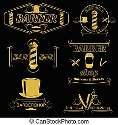 Barber Service Vintage Style Emblems