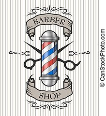 Barber shop emblem. Barber pole, scissors and ribbon for text in an old vintage style. Option in color.