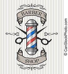 Barber shop emblem. Barber pole,scissors and ribbon for text...