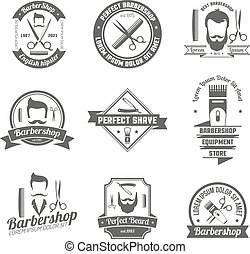 Barber Shop Emblem - Collection original grey sign of barber...