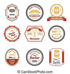 Barber shop hair beard and mustache grooming emblems colored set isolated vector illustration
