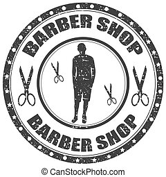 Barber Shop - Grunge rubber stamp with text Barber...
