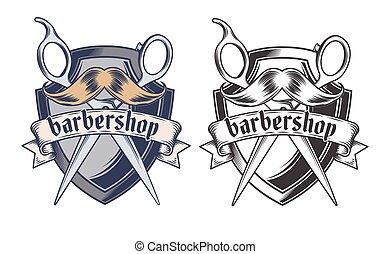 Barber shop equipment illustration engraved style vector