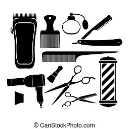 barber shop equipment - pictogram - suitable for...