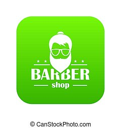Barber shop icon green