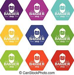 Barber shop icons set 9 vector