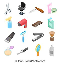 Barber shop isometric 3d icons