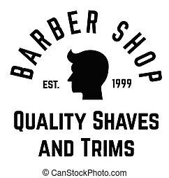 barber shop label on white background Sign, label, sticker.
