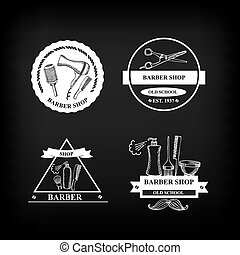 Barber shop labels,vector icons.